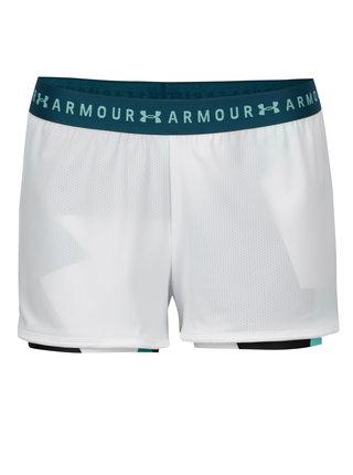 Pantaloni scurti sport albi cu perforatii si dublura - Under Armour