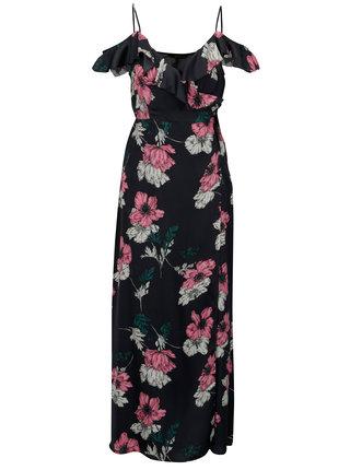 Rochie bleumarin cu print floral croi suprapus si volane - ONLY Porsha