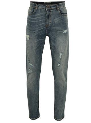 Blugi albastri slim fit cu aspect prespalat si deteriorat -  Burton Menswear London