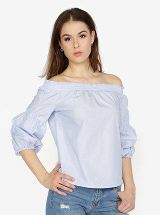 Bluza albastra cu decolteu pe umeri si dungi - ONLY New Iris