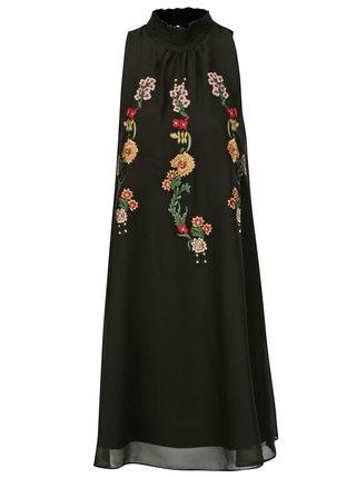 Rochie neagra cu broderie florala Desigual Angy