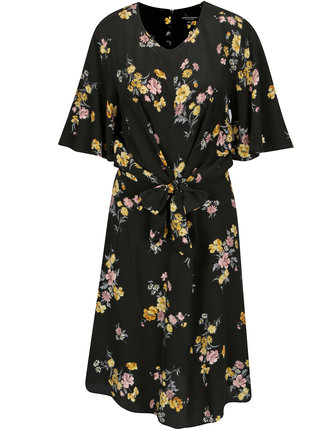 Rochie neagra cu print si funda in talie - Dorothy Perkins Tall