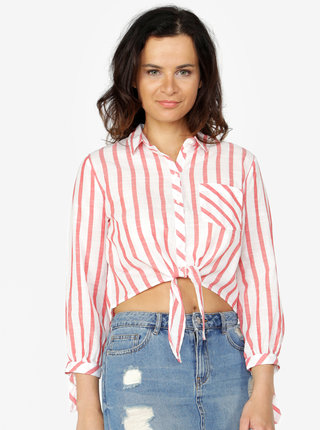 Krémovo-červená pruhovaná krátka košeľa ONLY Ameli