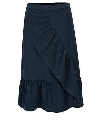 Tmavomodrá sukňa s volánmi VILA Geya