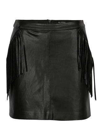 Černá koženková mini sukně s třásněmi Miss Selfridge