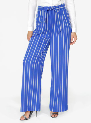 Modré pruhované široké nohavice Selected Femme Pilea