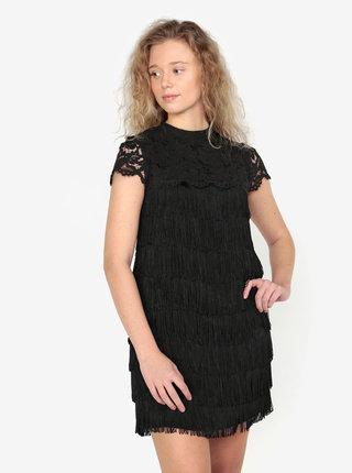 Rochie neagra cu dantela si franjuri Oasis Fringe