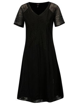 Čierne šaty s priesvitnými rukávmi YEST