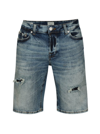 Pantaloni scurti albastri din denim cu aspect deteriorat - ONLY & SONS Ply