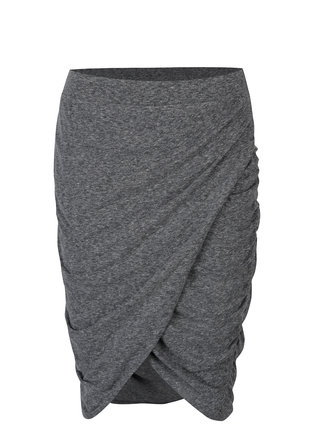 Sivá melírovaná sukňa s riasením na bokoch Noisy May New Ola