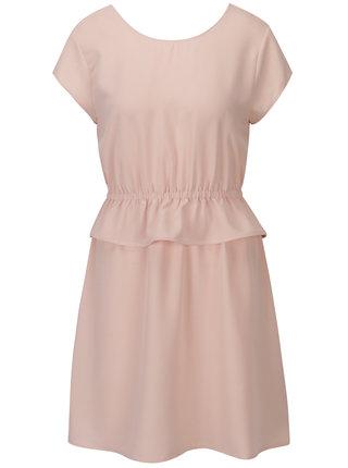Svetloružové šaty s výstrihom na chrbte ONLY Daphne