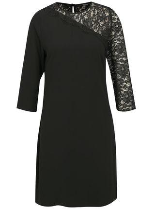 Čierne šaty s 3/4 rukávom a čipkou Dorothy Perkins