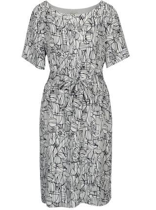 Modro–biele vzorované šaty s opaskom Selected Femme Gramms