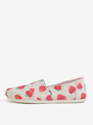 Pantofi slip on rosu-bej de dama cu model TOMS