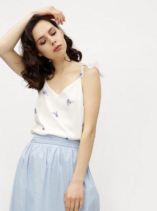 Top alb cu print floral si volane VERO MODA Danni