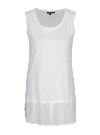 Biely top s košeľovým lemom Yest