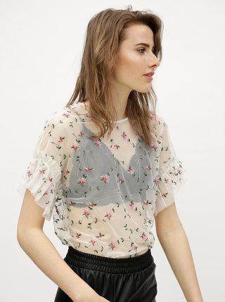 Bluza transparenta inflorata alba VERO MODA Kelly