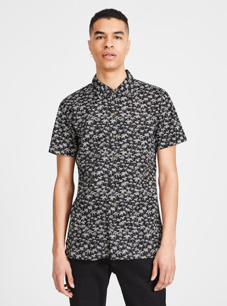 Camasa neagra slim fit cu model Jack & Jones Premium Hawaii
