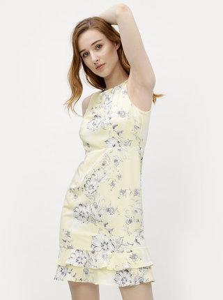 Rochie galben deschis cu model floral M&Co