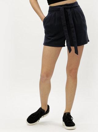 Pantaloni scurti albastru inchis cu talie inalta VERO MODA Mia