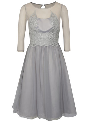 Sivé šaty s 3/4 rukávom Chi Chi London Andrada