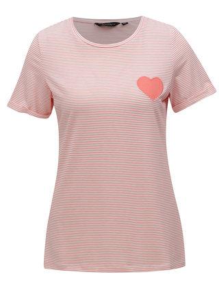Meruňkové pruhované tričko s nášivkou Dorothy Perkins