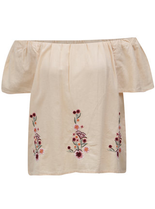 Bluza roz piersica cu broderie florala si decolteu pe umeri Dorothy Perkins