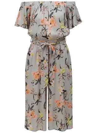 Sivý kvetovaný overal s odhalenými ramenami Dorothy Perkins