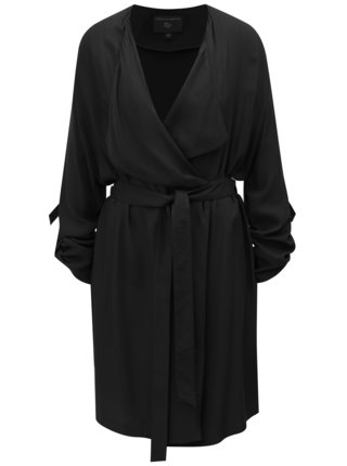 Čierny tenký kabát s 3/4 rukávmi Dorothy Perkins