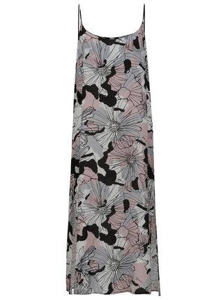 Ružovo-sivé kvetované midišaty na ramienka Fornarina Rue