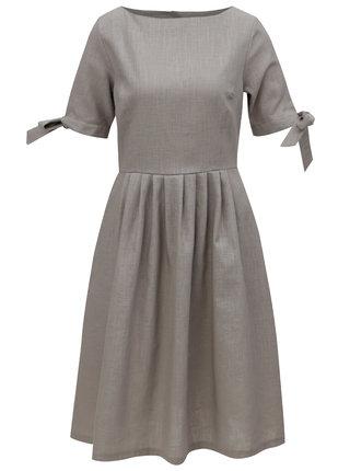 Béžové ľanové šaty Bohemian Tailors Fausta