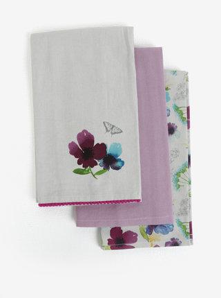 Bielo-fialová súprava troch utierok s kvetovaným motívom Cooksmart