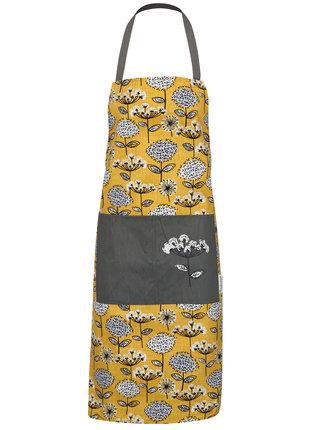 Hořčicová zástěra s květovaným motivem Cooksmart