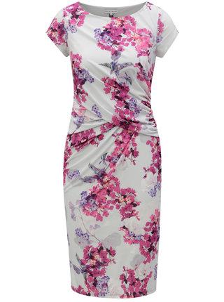 Ružovo-sivé kvetované puzdrové šaty Dorothy Perkins