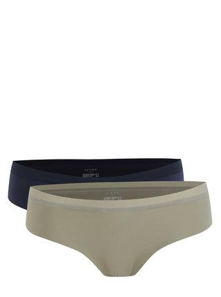 Súprava dvoch nohavičiek bez švov modrej a kaki farby ICÔNE Etoile