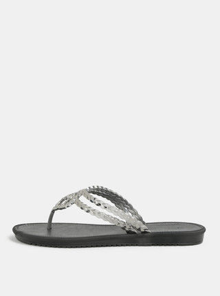 Žabky ve stříbrné a černé barvě Grendha Riviera