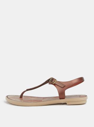 Sandale maro cu model Grendha Romantic