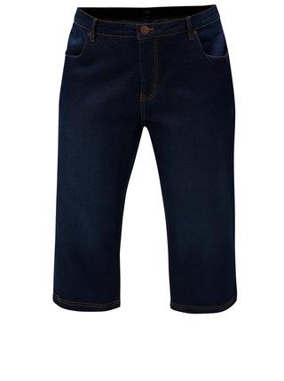 Pantaloni albastru inchis scurti regular slim din denim Zizzi