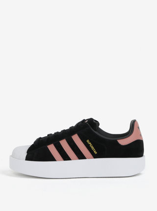 Tenisi de dama roz-negru din piele intoarsa cu platforma adidas Originals Superstar