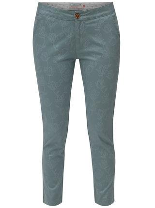 Pantaloni chino verde mentol cu model floral Brakeburn