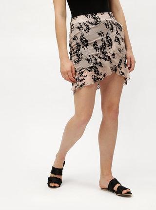 Staroružová vzorovaná sukňa s volánom MISSGUIDED