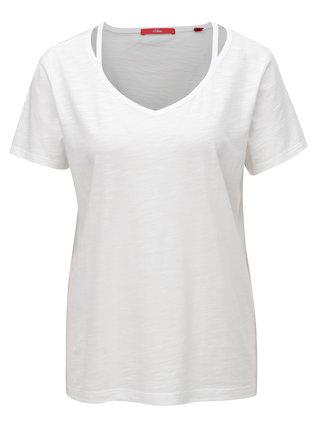 Tricou de dama alb cu decolteu in V s.Oliver