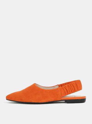 Oranžové dámské semišové baleríny s otevřenou patou Vagabond Katlin