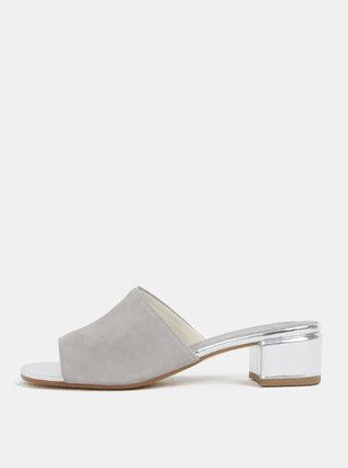 Papuci de dama gri din piele intoarsa cu toc Vagabond Aisha