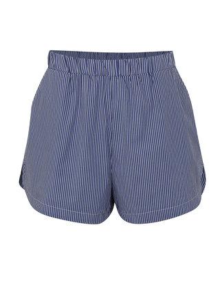 Pantaloni scurti albastri cu model in dungi si talie inalta Moss Copenhagen Memba
