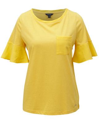 Žluté tričko s volány na rukávech Nautica