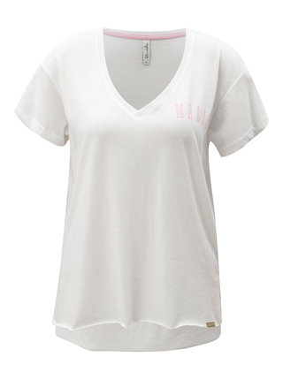 Biele tričko s véčkovým výstrihom Blendshe Mal