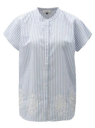 Bielo-modrá pruhovaná blúzka s výšivkou Blendshe Camilia