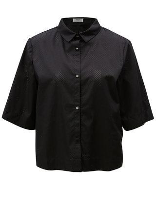 Černá volná krátká košile s dírkovaným vzorem Moss Copenhagen