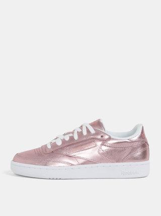 Ružové dámske metalické kožené tenisky Reebok Classic Club C 85